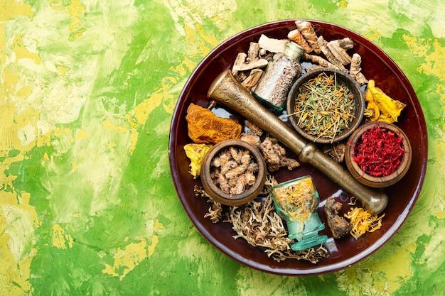 Conjunto de ervas curativas