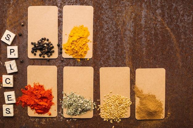 Conjunto de especiarias aromáticas