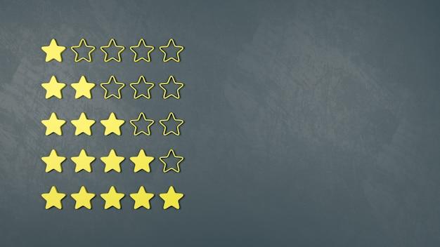 Conjunto de estrelas amarelas, conceitos de classificação e pesquisa