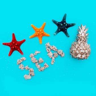 Conjunto de estrelas do mar estilo praia. arte minimalista tropical
