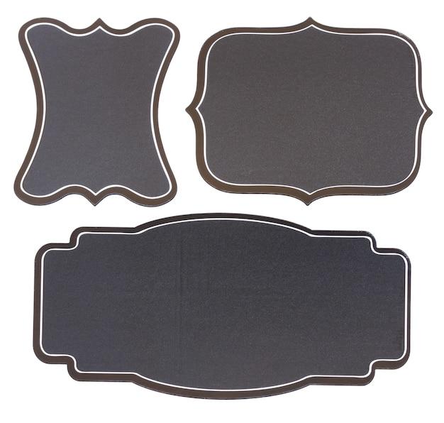 Conjunto de etiquetas vintage de quadro preto vazio isoladas no fundo branco