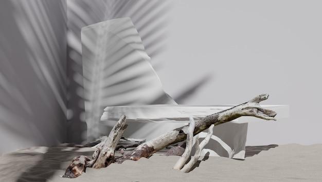 Conjunto de exibição de pódio 3d. copie o fundo do espaço branco. maquete de promoção de cosméticos ou produtos de beleza. pedestal em pedra e madeira natural.