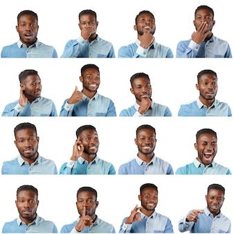 Conjunto de expressão de rosto de homem negro