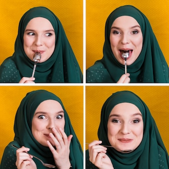 Conjunto de expressão de rosto de mulher muçulmana branca comendo com colher