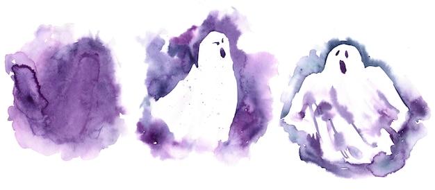 Conjunto de fantasma violeta de halloween