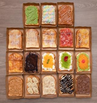 Conjunto de fatias de pão torrado