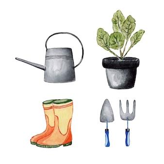 Conjunto de fazendeiro de aquarela de jardim pintado em branco