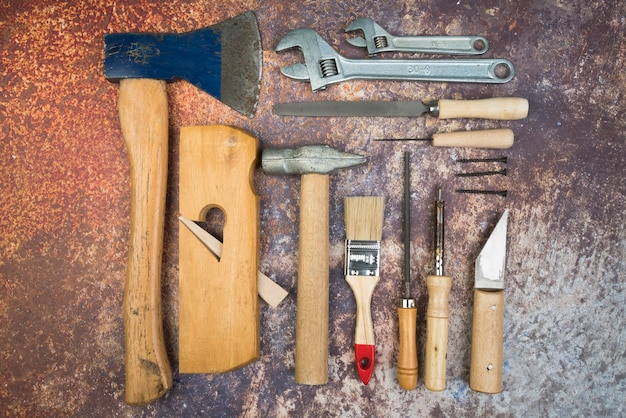 Conjunto de ferramentas da vista superior