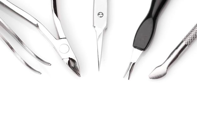 Conjunto de ferramentas de manicure isolado vista superior