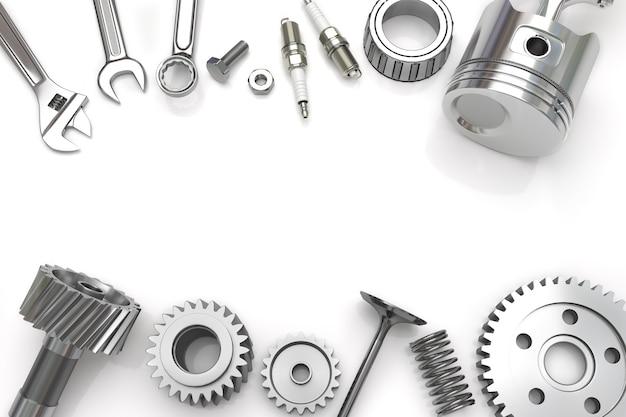 Conjunto de ferramentas e equipamentos em fundo branco