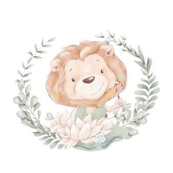 Conjunto de filhote de leão bonito dos desenhos animados e flores. ilustração em aquarela