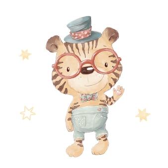Conjunto de filhote de tigre bonito dos desenhos animados, usando chapéu e óculos. ilustração em aquarela.