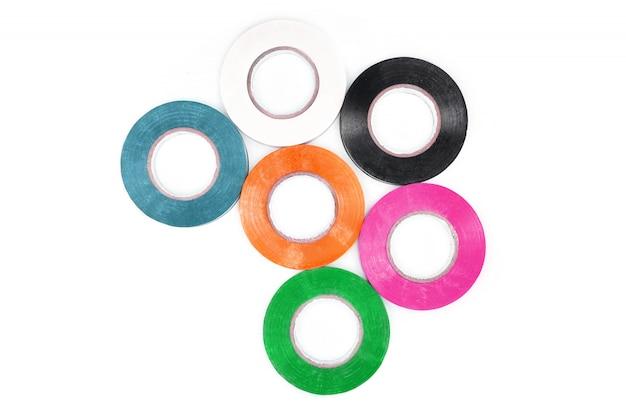 Conjunto de fita adesiva colorida de proteção elétrica.