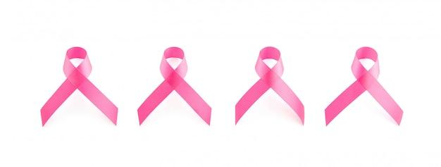 Conjunto de fitas de cetim rosa isolado no fundo branco bandeira