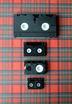 Conjunto de fitas de vídeo com diferentes tamanhos