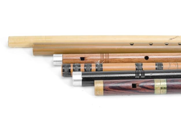 Conjunto de flautas tailandesas são feitas de madeira, tailândia