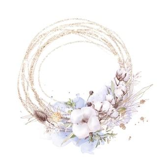 Conjunto de flores de algodão em uma moldura de ouro. ilustração em aquarela