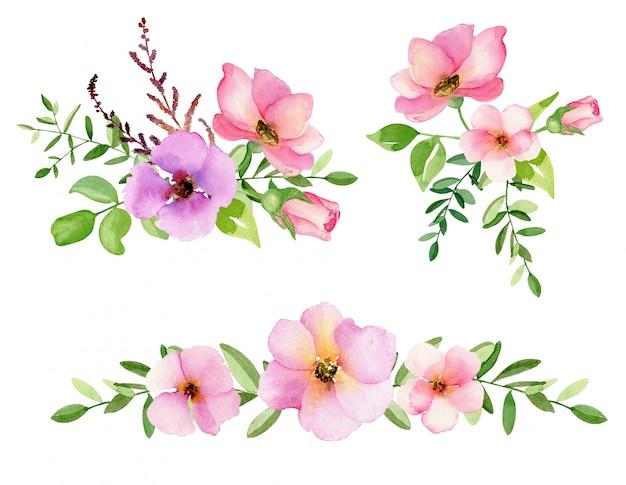 Conjunto de flores em aquarela em branco.