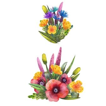 Conjunto de flores silvestres em aquarela