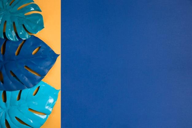 Conjunto de folhas azuis com espaço de cópia