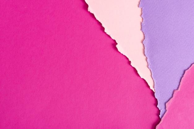 Conjunto de folhas de papel rosa