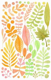 Conjunto de folhas em aquarela.