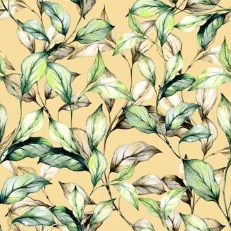 Conjunto de folhas verdes em aquarela e grama.