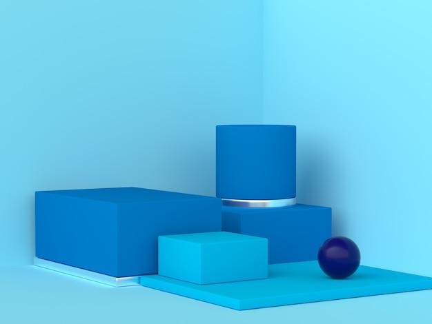 Conjunto de forma geométrica azul cena abstrata canto renderização em 3d