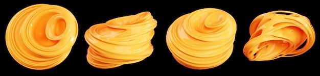 Conjunto de formas de renderização 3d abstrações líquidas. material brilhante liso amarelo