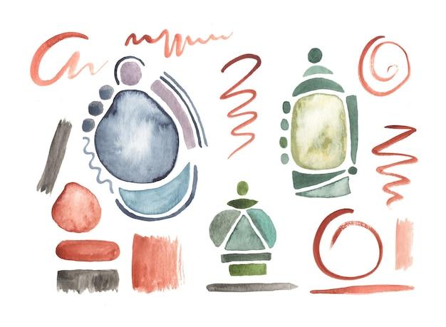 Conjunto de formas geométricas em aquarela pintadas à mão e pinceladas