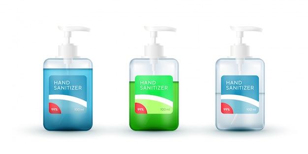 Conjunto de frascos realistas com dispensadores de bomba