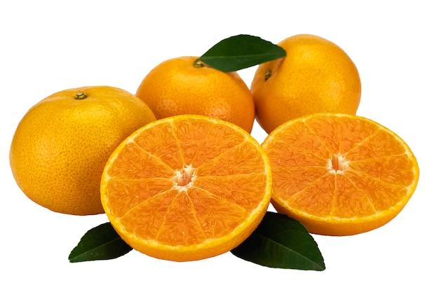 Conjunto de fruta laranja suculenta fresca sobre branco