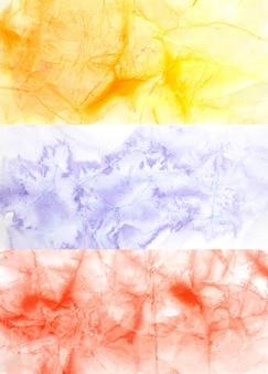 Conjunto de fundos coloridos em aquarela com textura de papel amassado