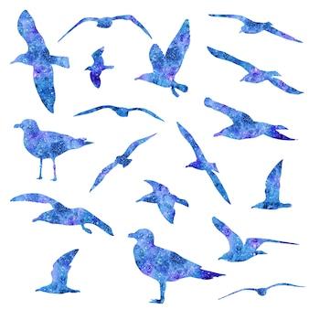 Conjunto de gaivota aquarela isolado no fundo branco