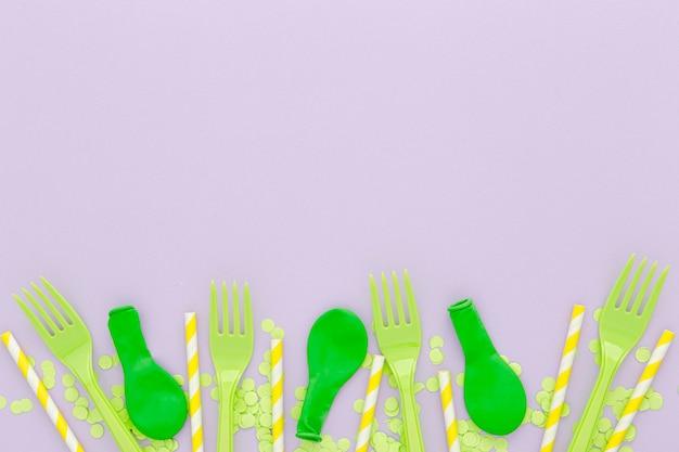Conjunto de garfos platic e balões