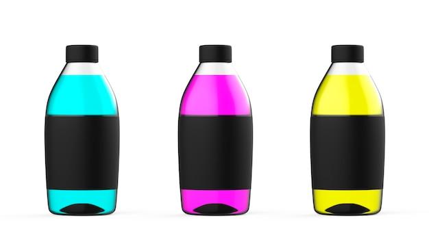 Conjunto de garrafa de plástico colorido com maquete colorida de recipiente de líquido transparente isolado com água