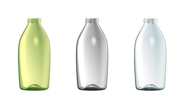Conjunto de garrafa de vidro vazio isolado frasco de líquido transparente colorido maquete de embalagem aberta publicidade