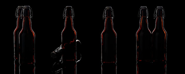 Conjunto de garrafas de cerveja de vidro