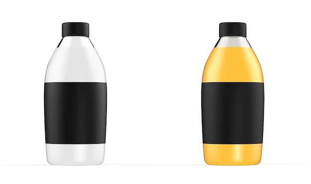 Conjunto de garrafas de vidro com maquete de cor de recipiente de líquido transparente isolado