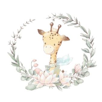 Conjunto de girafa bonito dos desenhos animados em uma xícara. ilustração em aquarela.