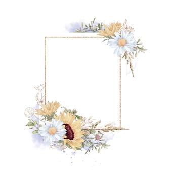 Conjunto de girassol em uma moldura de ouro. ilustração em aquarela.