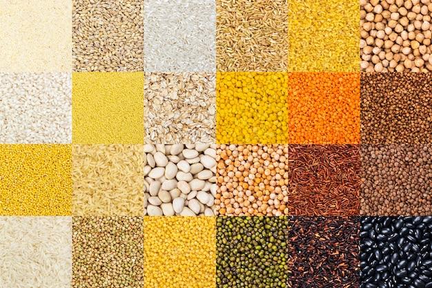 Conjunto de grãos diferentes