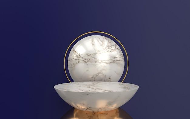Conjunto de grupos de forma geométrica abstrata, fundo de mármore, renderização em 3d, cena com formas geométricas, plataforma redonda minimalista, moldura de ouro redonda, disco de mármore
