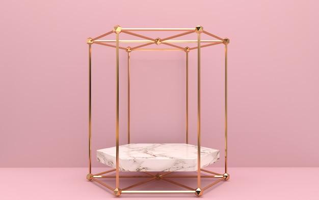 Conjunto de grupos de forma geométrica abstrata, fundo rosa, gaiola dourada, renderização em 3d, cena com formas geométricas, pedestal de mármore dentro da moldura do hexágono de ouro