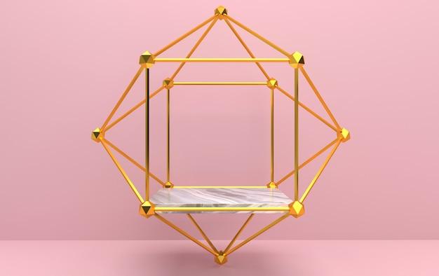 Conjunto de grupos de forma geométrica abstrata, fundo rosa, gaiola dourada, renderização em 3d, cena com formas geométricas, pedestal quadrado dentro da moldura dourada