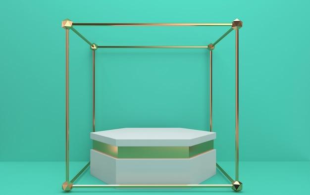 Conjunto de grupos de forma geométrica abstrata, fundo verde, gaiola dourada, pedestal hexagonal com detalhes dourados, renderização em 3d, cena com formas geométricas