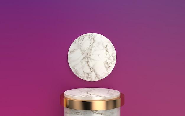Conjunto de grupos de forma geométrica abstrata, pedestal de mármore com detalhes de ouro, renderização em 3d, cena com formas geométricas, plataforma redonda minimalista, moldura de ouro redonda, disco de mármore