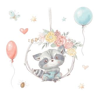 Conjunto de guaxinim bonito dos desenhos animados com flores e balões. corações de abelha borboleta.