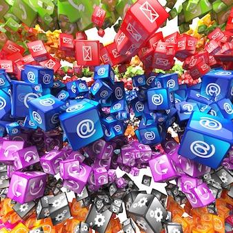 Conjunto de ícones de cubo fundo 3d