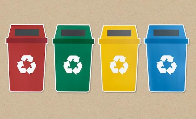 Conjunto de ícones de lixo com símbolo de reciclagem